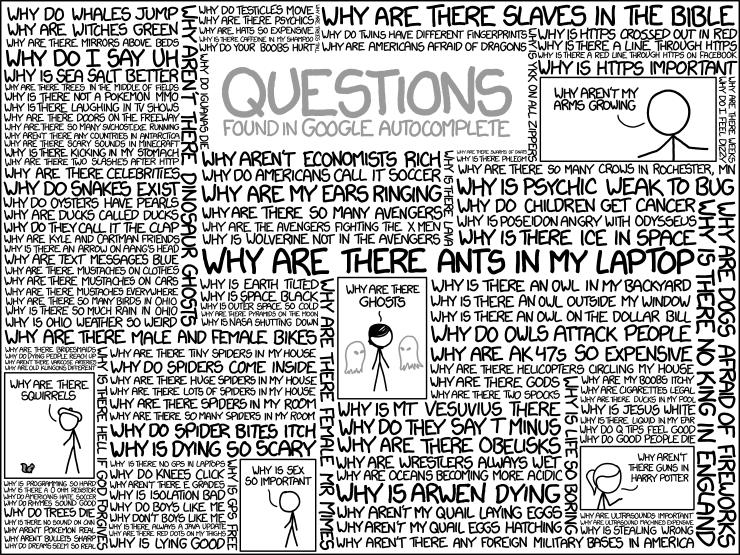 Google autocompletion algorithms questions xkcd